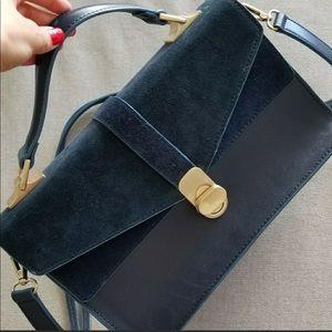 Zara Bag Blue Suede Satchel Style